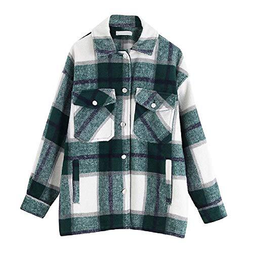 Nobrand Damen-Jacke, kariert, mit Kragen, Woll-Mischgewebe, lange Ärmel, Herbst, Winter, warme Jacke, weibliche Oberbekleidung Gr. Small, grün