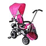 Triciclo para niños, cochecito de bebé, triciclo con giro de 360°, con 2...