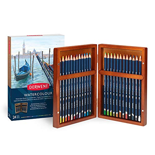 Derwent Colored Pencils, WaterColour, Water Color Pencils, Drawing, Art, Gift Set Wooden Box, 24 Count (2300152)
