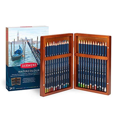 Derwent 2300152 Aquarellstifte 24 Stück in Geschenkbox aus Holz Profi-Qualität