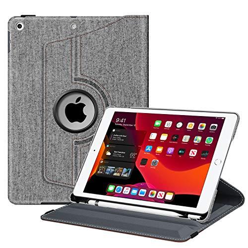 Fintie Hülle für iPad 10.2 Zoll (8. & 7 Generation, Modell 2020/2019), 360 Grad Rotierend Stand Schutzhülle Cover mit eingebautem Pencil Halter, Auto Schlaf/Wach Funktion, Denim grau