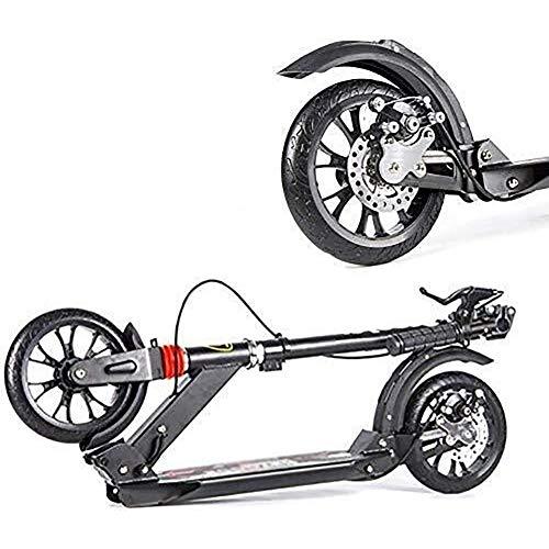 Patinetes de acrobacias Barras de motos, Scooter adultos, Vespa Ruedas, Kick Kick plegable for adultos con Handlebrake, de doble suspensión con PU de ruedas, con altura ajustable, soporte 220
