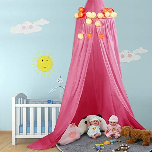 zhuolong Dôme Rond Multicolore Suspendu lit à baldaquin moustiquaire Rideau pour bébé Enfant Lecture Jouant Dormir décor à la Maison(Neuf Rouges)