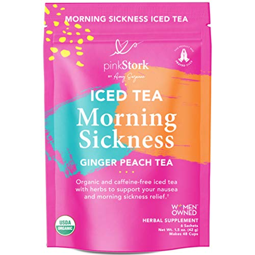 Pink Stork Iced Morning Sickness Relief Tea: Ginger-Peach + 100% Organic + Relieves Nausea + Supports Digestion & Hydration, Women-Owned, 6 Sachets