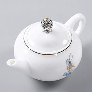急須 バルクお茶とティーバッグのための白描画ゴールドと白の磁器のハンドメイドティーポットバブルシングルポット (Color : White, Size : 150ml)