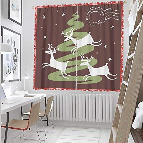 Christmas 99% Blackout Curtains Snowman with hat in The Garden with Gift Box and Lantern Image for Bedroom,Kindergarten,Living Room W52 x L84 Inch