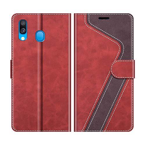 MOBESV Handyhülle für Samsung Galaxy A40 Hülle Leder, Samsung Galaxy A40 Klapphülle Handytasche Hülle für Samsung Galaxy A40 Handy Hüllen, Modisch Rot
