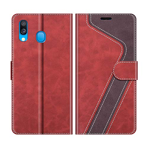 MOBESV Handyhülle für Samsung Galaxy A40 Hülle Leder, Samsung Galaxy A40 Klapphülle Handytasche Case für Samsung Galaxy A40 Handy Hüllen, Modisch Rot