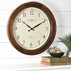 FirsTime & Co. Walnut Garrison Wall Clock, American Crafted, Walnut Wood, 16 x 2 x 16,