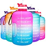 QuiFit Motivational Gallon Water Bottle - with Straw & Time Marker BPA Free Large Reusable Sport Water Jug with Handle for Fitness Outdoor Enthusiasts Leak-Proof (Pink/Blue,1 Gallon)