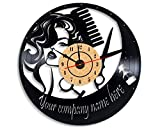Levescale TM Hairdresser Vinyl Wall Clock - Vintage Style for Her, Girl, Man - Decoration for Living Room, Salon - Hairdresser Tools - Barber - Hairstylist - Scissors - Cut - Beauty