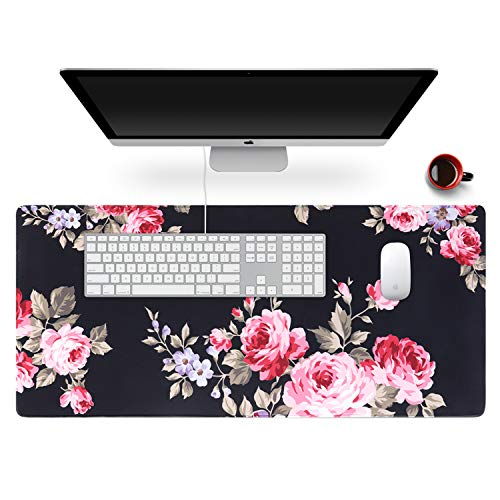 Anyshock Desk Mat, Extended Gaming Mouse Pad 35.4' x 15.7' XXL Keyboard Laptop Mousepad with Stitched Edges Non Slip Base, Water-Resistant Computer Desk Pad for Office and Home (Peony Flower)