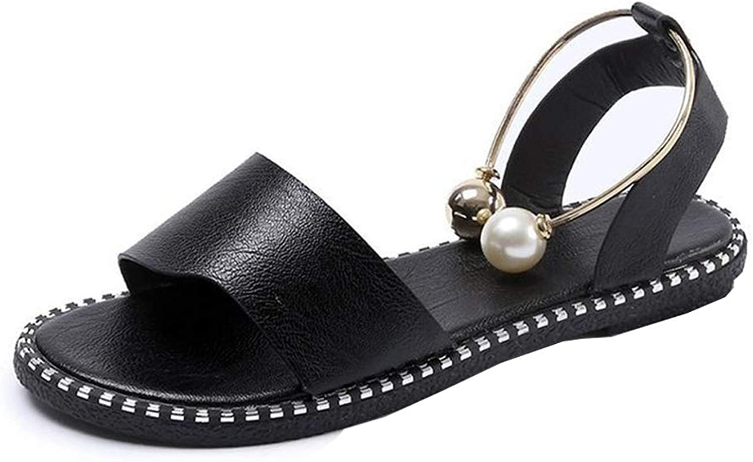 HEDDK Summer Ladies Sandals Casual Pearl Buckle Round Head Flat Sandals Peep Toe Beach Sandals Plus Size 35-39