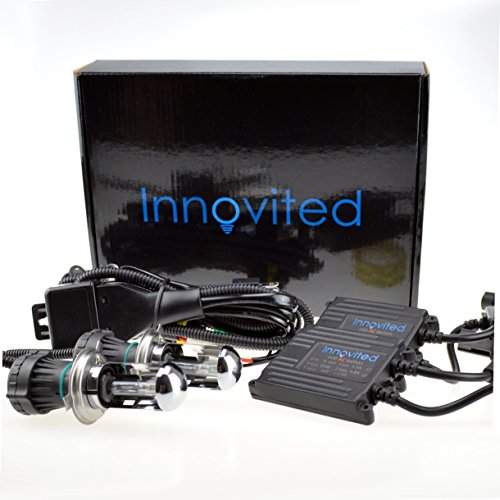 Innovited 35W AC Xenon HID Lights - All Bulb Sizes and Colors - with Slim Ballast - H4-3 9003-6000K Bi xenon HI/LO - Diamond White