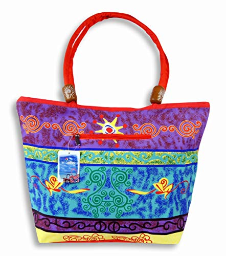 Waterproof Purple Blue Design on front side and Solid red on flip side Canvas Beach Bag Zipper Closure with Wood Balls 21 X 15 X 6 by Star