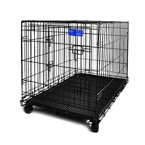 Simply Maison XL | Hundekäfig | Transportbox | Drahtkäfig mit 2 Türen, schraubbaren Rollen und Tragegriff | ( 107cm x 72cm x 81,5cm )