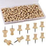 Thumb Tacks - Standard Push Pins Steel Point and Wooden Used for Cork Board or Maps, Photos and Calendar, Home Office Supplies Craft Projects - Natural Color