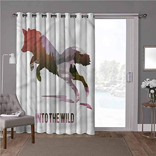 YUAZHOQI Cortina separadora de habitación con ojales aislados térmicos, Fox, Jumping Fox Wild Woodland, W100 x L84 pulgadas cortinas de cristal para ventana (1 panel)