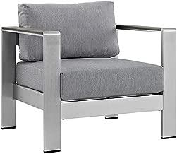 Modway Shore Aluminum Outdoor Patio Armchair in Silver Gray