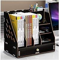 ファイルデスクトップストレージ 寮のデスクトップラック 事務用品フォルダー 情報本棚紙収納ボックス 大容量(木) (Color : 4)