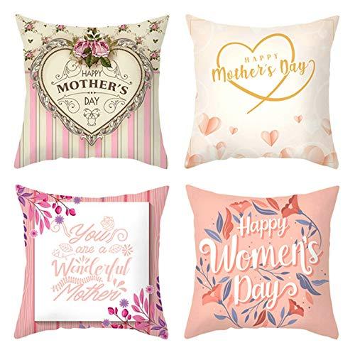 Aeici 4 Pezzi Copricuscini Sedie, Federe Decorative Cuscini 50x50cm Fodere Divano Happy Mother's Day Cuore Rosa Set 6