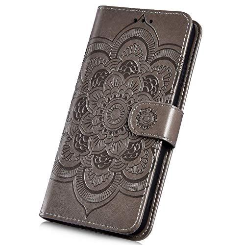 Surakey Hülle für LG V40 ThinQ Handyhülle Brieftasche Stil Handytasche PU Leder Schutzhülle Flip Hülle Cover Mandala Blumen Muster Lederhülle Wallet Hülle Ständer Kartenfächer, Grau