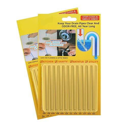 Abflussreiniger Drain Sticks Rohrreiniger Enzymreiniger - für verstopfte Rohre in Küche, Bad und Dusche Drain Cleaner (12 Stück)- Zitrone