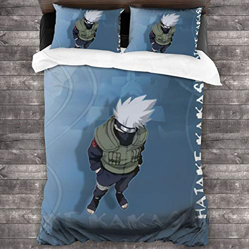Woworldwo Naruto Cartoon Hatake Kakashi Boy And Girl Bedroom Decoration 3-Piece Set, Bed Duvet Cover Large Double Bed, With Zipper Closure Duvet Cover And Two Pillowcases.
