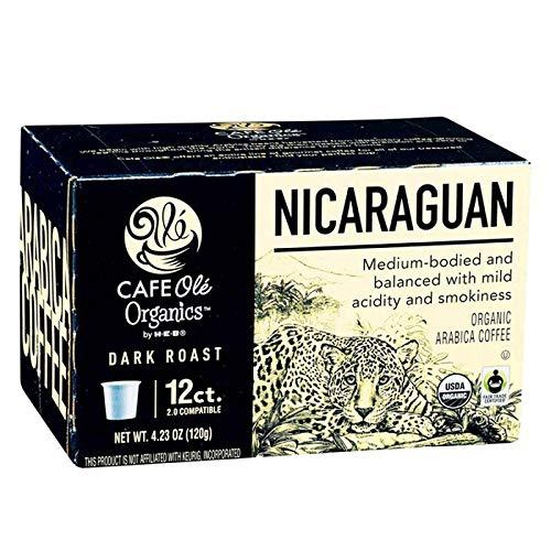Cafe Ole Organics Nicaraguan Dark Roast Single Serve Coffee Cups, 12 count