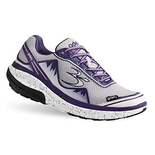 Gravity Defyer Proven Pain Relief Women's G-Defy Mighty Walk White Purple Athletic Shoes 6 M US - Women's Walking Shoes for Heel Pain, Foot Pain and Plantar Fasciitis