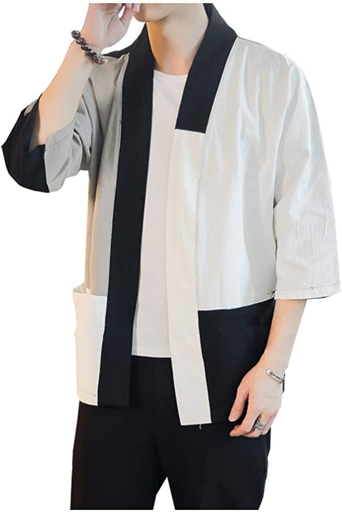 Men's Japanese Patchwork Cotton Blends Linen Shirts Kimono Cardigan Jackets