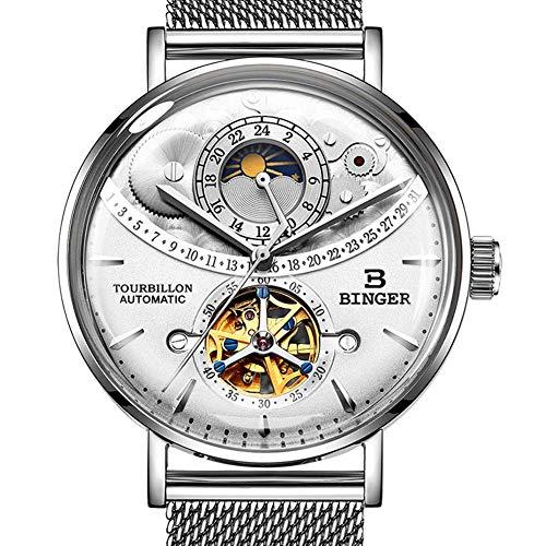 Gskj Mannen mechanische horloge Volledig automatisch Multifunctionele metalen waterdichte horloge mode 2.5D oppervlak Lege gat Zakelijk horloge