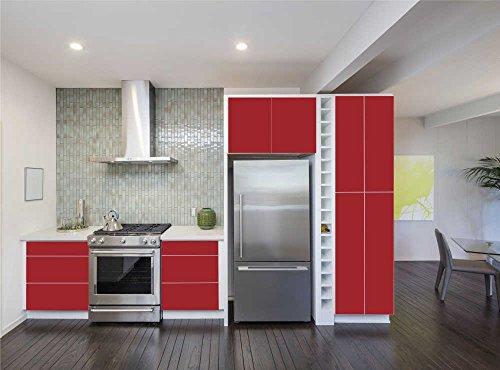 INDIGOS UG - Aufkleber für Küchenschränke 63x500cm - MATT - dunkelrot - Folie aus hochwertigem PVC Tapeten Küche Klebefolie Möbel wasserfest für Schränke selbstklebende Folie Küchenfolie Dekofolie