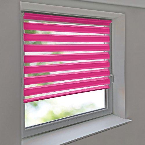 Sonnenschutz-HH - Doppelrollo Klemmfix ohne bohren Vario Seitenzug Duorollo AUSSENMAß Breite 90 x 150 cm Höhe - rosa/pink