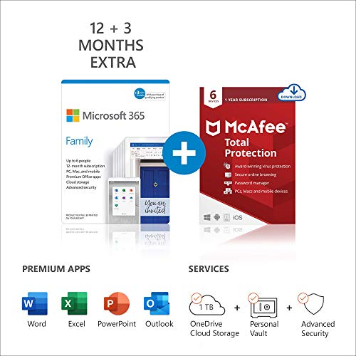 Microsoft 365 Family | 15 Months subscription | Office apps | up to 6 users | Multiple PCs/Macs, Tablets and Phones + McAfee Total Protection 2021 | 6 Devices | 12 months | multilingual | Download