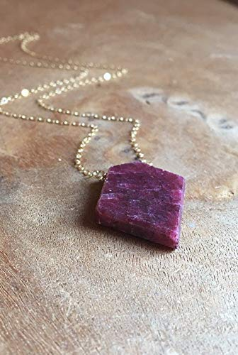 Large Raw Ruby Necklace 14k Gold Filled 18 Inch July Birthstone Jewelry Gift For Women