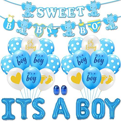 Yisscen Babyparty Party Dekoration, Party Geburtstag Deko Set, IT'S A Boy Luftballons mit Banner, für Baby Shower Party, Geburtstag Party Dekorationen (Blau)