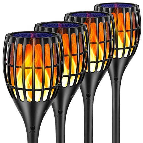"Ollivage Solar Lights Outdoor, 43"" Flickering Flames Torch Lights Solar Garden Lights Waterproof Landscape Lighting Dusk to Dawn Auto On/Off Security Torch Light for Yard Patio Driveway, 4 Pack"