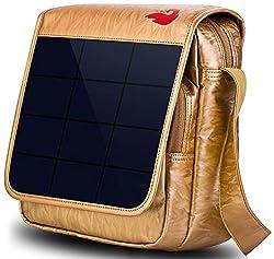 Solarbetriebene Wandern Tagesrucksäcke mit 6,5 Watt Solar-Ladegerät (Gold)