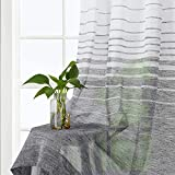 LinTimes Black Striped Sheer Curtains Farmhouse Synthetic Linen Textured Voile Curtains Window Treatment Set Panels For Living Room, Bedroom, 132X137cm, 2 Panels