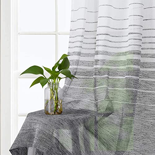 LinTimes Black Stripe Sheer Window Curtains 132X160cm Vintage Style Synthetic Linen Textured Splicing Yarn Dyed Fabric Window Covering Panels, Dining / Guest Room Curtains, 2 Panels