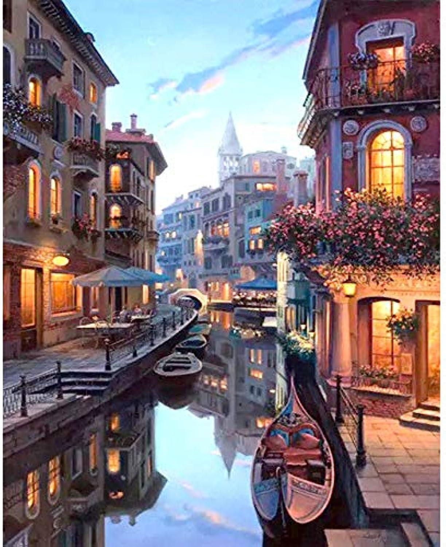 Malen Nach Zahlen Venedig Nacht Landschaft DIY Malen nach Zahlen Kits Färbung Malen nach Zahlen Home Wand Kunst Dekor für einzigartiges Geschenk gerahmt 40x50 cm B07L6K5SM5 | Neuheit