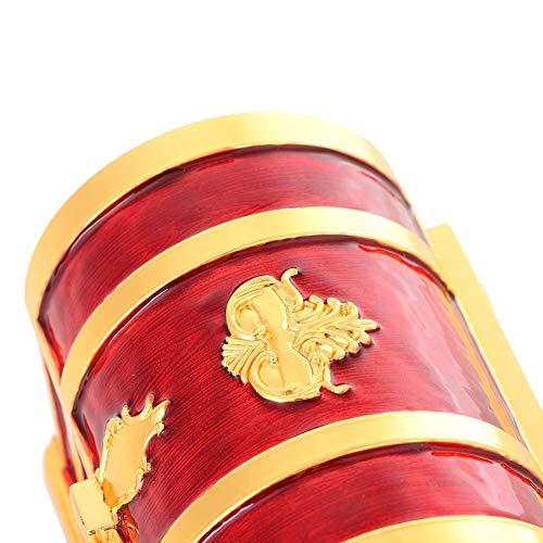 Organizador de joyas retro de 4.2 * 2.8 * 3 pulgadas, joyero a prueba de polvo, collar para guardar pendientes, anillos, decoración del hogar(Pegamento rojo)