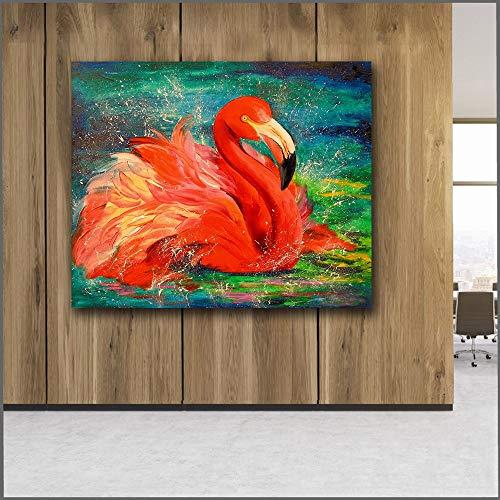 Große Leinwand Wandkunst Ölgemälde schöne Wilde Flamingo und Schlafzimmer Bild rahmenlose Malerei 75X87.5CM