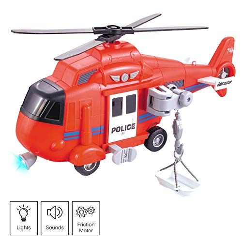 Vokodo Fire Rescue Helicopter 11' With Lights Sounds Push And Go Includes Cargo Basket Durable Kids Firefighter Friction Chopper Toy Pretend Play Airplane Truck Great Gift Children Boys Girls Toddlers