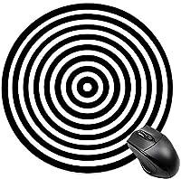 子供用丸型マウスパッドミニマウスマット光学式マウスパッド黒と白のイリュージョンサークル-黒と白