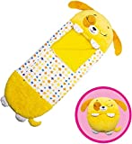 NUFR-Happy Kids Nappers Sleeping Bag,Portable Foldable Two-in-One Sleeping Bag with Pillow, All Season Cartoon Animal Sleeping Bag Pillow,Soft and Warm,Suitable for Children Camping. (Yellow Dog)