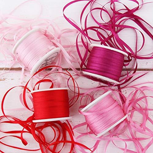 Threadart 2mm Silk Ribbon Set - Red/Pink Shades - Four Spool Collection - 100% Pure Silk Ribbon - 10m (11yd) Spools - 44 Yards of Ribbon