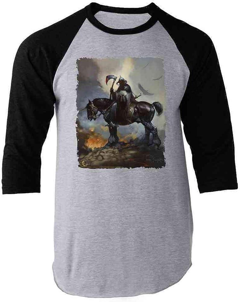 Frank Frazetta Art Death Dealer Barbarian Horror Raglan Baseball Tee Shirt
