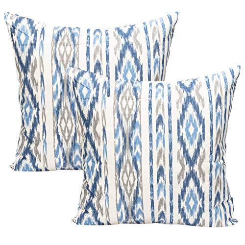 TRESMESTRES Fundas de Cojines 45x45 - Decoración Mediterránea - Decorativos para Sofá o Almohadas/Almohadones para Cama - Estilo Costero - Funda Cojín 45 x 45 cm 2 Pack, Azules y Grises